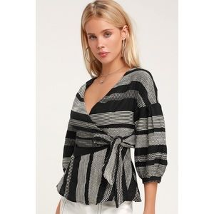 JENNIFER BLACK AND WHITE STRIPED WRAP TOP - Small